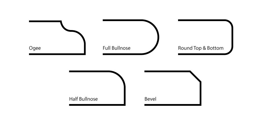 ogee, full bullnose, rounded top & bottom, half bullnose or bevel are all available